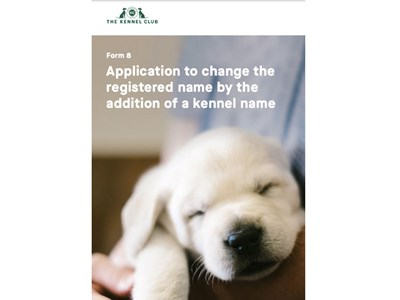 Application to Change the Registered Name by the addition of a Kennel Name - cover