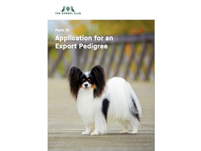 Application for Export Pedigree - cover