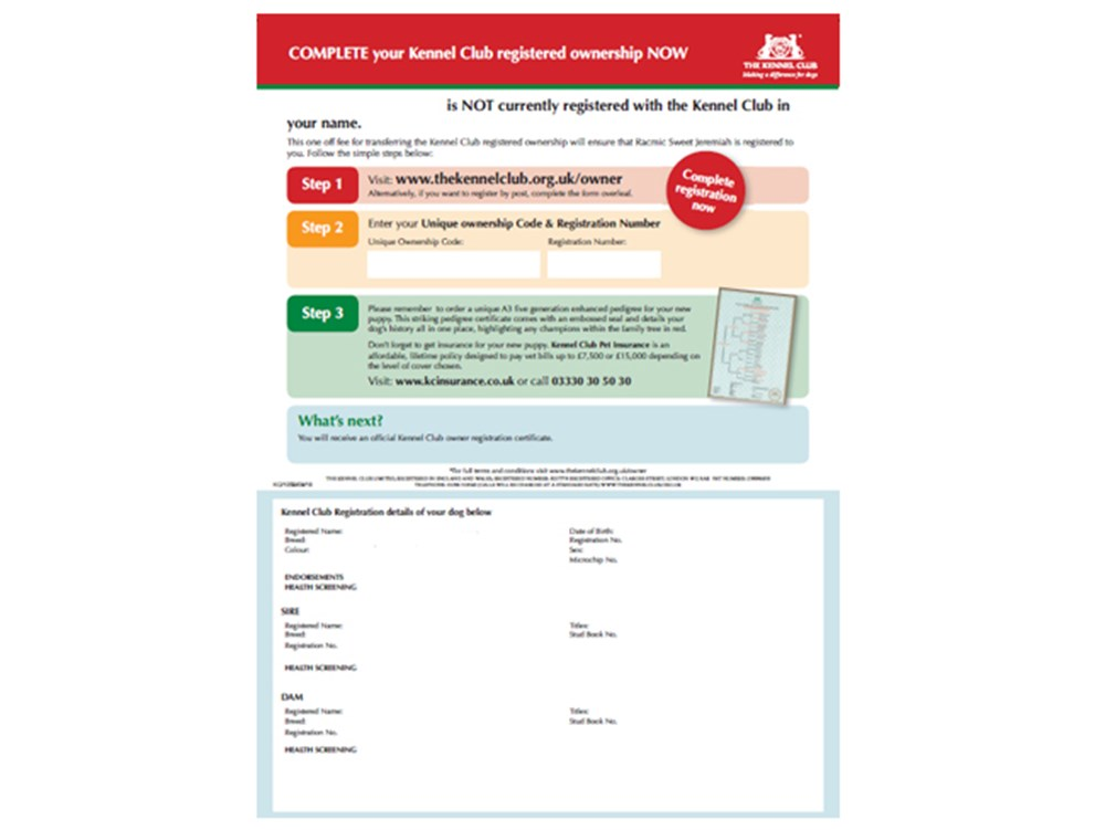 Cover for form - change of ownership document