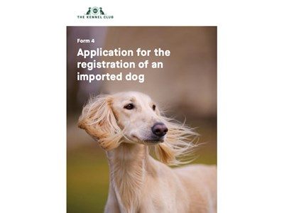Application for the Registration of an Imported Dog - cover